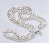 "6X8 MM White Fresh Water Baroque pearls Necklace Bracelet Earring 18""8"" AAA"