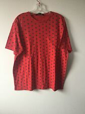 Men's  Tee Shirt  by Marc Jacobs size Large Red with Blue dots 100% Cotton