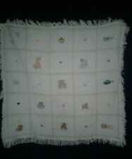 White Baby Blanket Hand-embroidered Picture Giraffe Elephant Lion Lamb Duck Plus