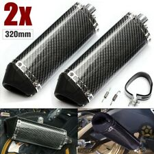 Pair 38mm Motorcycle Carbon Fiber Exhaust Muffler Movable Silencer Scooter Atv
