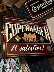 "Copenhagen Snuff Vintage Rare Metal Sign - ""Established 1822 - It Satisfies"""