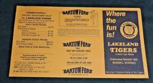 Vintage 1982 MLB Baseball Schedule Detroit Tigers Lakeland Class A Affiliate Fun