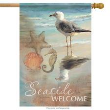 "Seaside Welcome Summer House Flag Shells Shore Seagull Nautical Beach 28""x40"""