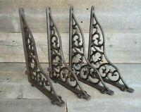 4 LARGE Shelf Braces Wall Brackets Cast Iron Brackets Vine Garden Corbels Rustic