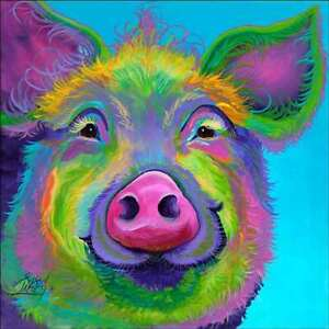 Pig Accent & Decor Tile Susan Libby Abstract Art SLA061AT