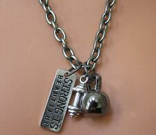 CROSSFIT GYM BARBELL 'STRONG IS BEAUTIFUL' Gunmetal KETTLEBELL & CHAIN NECKLACE