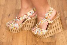 River Island floral print twisted knot raffia wedges