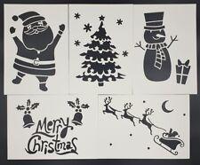 6 x  Christmas Decoration Snow Spray Stencil Deer Tree SnowFlake Santa Snowman