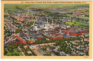 Linen Postcard: Kodak Park Works, Rochester, NY - aerial view (Eastman Kodak)