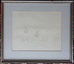 Attributed ISAAC SPRAGUE 1811-1895 Pencil Drawing GOLDEN EYE DUCKS Unsigned Nd