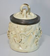French Pottery Tobacco Jar 18th Century Faux Bois Grapes & Leaves