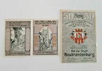 NEUBRANDENBURG REUTERGELD NOTGELD 10, 25, 50 PFENNIG 1922 NOTGELDSCHEINE (11989)