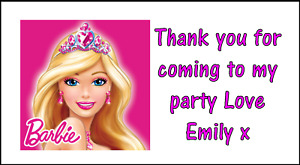Personalised x 48 Barbie Stickers Labels Party Bag Sweet Cones Thank You