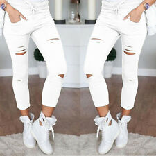 Women's Denim Skinny Pants High Waist Stretch Jeans Pencil Trousers Boyfriend