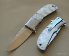 ELK RIDGE IMITATION WHITE PEARL HANDLE SPRING ASSISTED KNIFE WITH POCKET CLIP