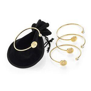 Gold Girl Alphabet Letter Initial Crystal Friendship Bangle Personalise Bracelet