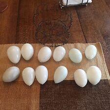 Antique primitive 12 blown Milk Glass eggs Farm collectible W Collapsable basket