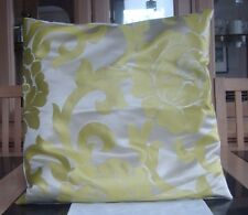 CREAM AND LIME GREEN JACQUARD DESIGN CUSHION COVER