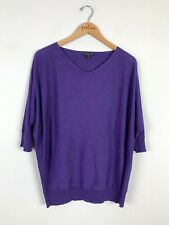 Eileen Fisher Purple 3/4 Dolman Sleeve Cotton Blend Sweater Size Small PS