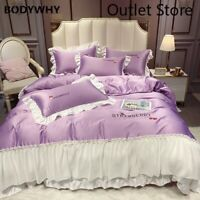 Luxury Princess Lace Silk Embroidery Bedding Set Cover Bed Sheet Cover 4pcs