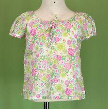 253 Papo d`Anjo Oscar de la Renta floral top blouse multi-color short slv EUC 3