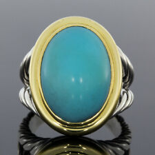 David Yurman Signature Oval Turquoise Cable Split Shank Ring SS/18K MSRP: $2,650