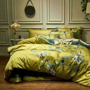 Luxury 4Pcs Silky Egyptian Cotton Chinoiserie Birds Flowers Duvet Bedding Set UK
