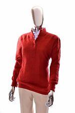 Courreges Paris Vintage 1960s Dark Orange Soft Geometric Womens Sweater - Large
