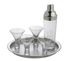 Gorham Ribbon Martini Cocktail Set 6 Pieces Crystal Glass Stainless Steel Tray