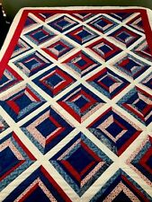"Vintage Quilt Red White Blue Log Cabin Variation Handmade Patchwork 62.5"" x 95"""