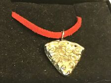 """Pizza Slice TG161 English Pewter On 18"""" Red Cord Necklace"""