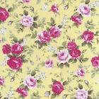 Melodie rose - Beau Roses Sur Jaune 100 floral % COTON POPELINE tissu rose