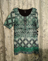 LONG SOFT SLINKY SHIMMER MESH LACE STRETCH KNIT TRAVEL TUNIC TOP BLOUSE~L~XL~NEW