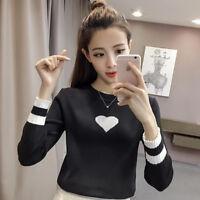 Women Pullover Knitwear Long Sleeve Crew Neck Fit Knit Sweater Shirt Blouse Tops