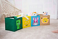Kids Novelty Folding Animal Storage Boxes Space Saver Canvas Collapsible Toy Box