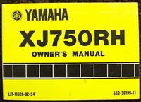 YAMAHA 1981 XJ50RH MOTORCYCLE OWNER'S MANUAL #5G2-28199-11
