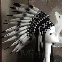 Unisex Native American Chief Headwear Indian Feather Headpiece Black Headgear