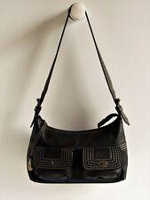 77a21bfa26 MULBERRY Vintage Black Leather Front Pockets Small Hobo Shoulder Bag In EUC