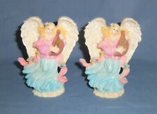 Lot 2 Angel Playing the Harp Figurine Statue Glitter Rose Detail Blue Pink