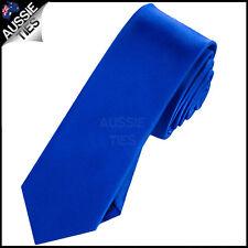 MENS ROYAL BLUE 5CM  SKINNYTIE necktie mid-blue thin narrow slim
