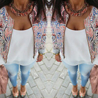 Fashion Womens Long Sleeve Floral Printed Blazer Suit Casual Jacket Coat Outwear