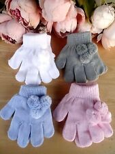 Baby Infant Kids Boy Girl White Pink Blue Grey Pom Pom Gloves Mitts 13cm