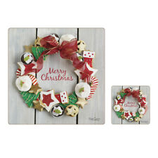 ISTYLE Square Placemats and Coasters Set Christmas Treats Festive Table Mats