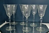 "VINTAGE CRYSTAL TALL WINE GLASSES 8 1/2"" TALL ETCHED FLORAL"