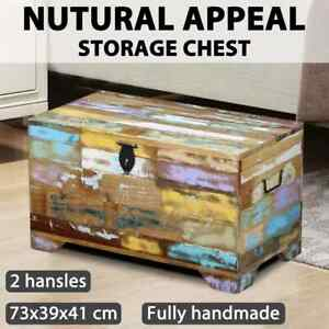vidaXL Reclaimed Timber Blanket Box Coffee Side Table Storage Trunk Vintage