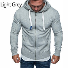 Sports Mens Plain Hoodie Zip Up Fleece Hoody Jacket Sweatshirt Zipper Coat Tops