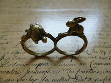 Vintage Bronze Tortoise & Hare Double Finger Costume Jewellery Ring