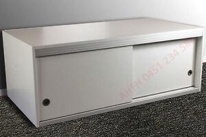 "White Wardrobe Top Cupboard Storage Extension Lowline Box with Sliding Doors 48"""