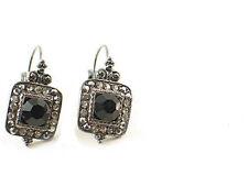42A Antique Vintage Look  Black Swarovski Crystal Elements Leverback Earrings