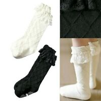 Toddlers Kids Girls Cotton Lace Soft Knee High Socks 2-8Y Tights KHS001